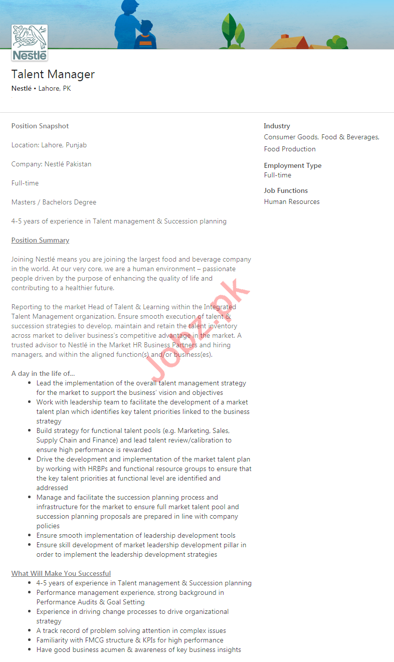 Nestle Lahore Jobs 2020 for Talent Manager
