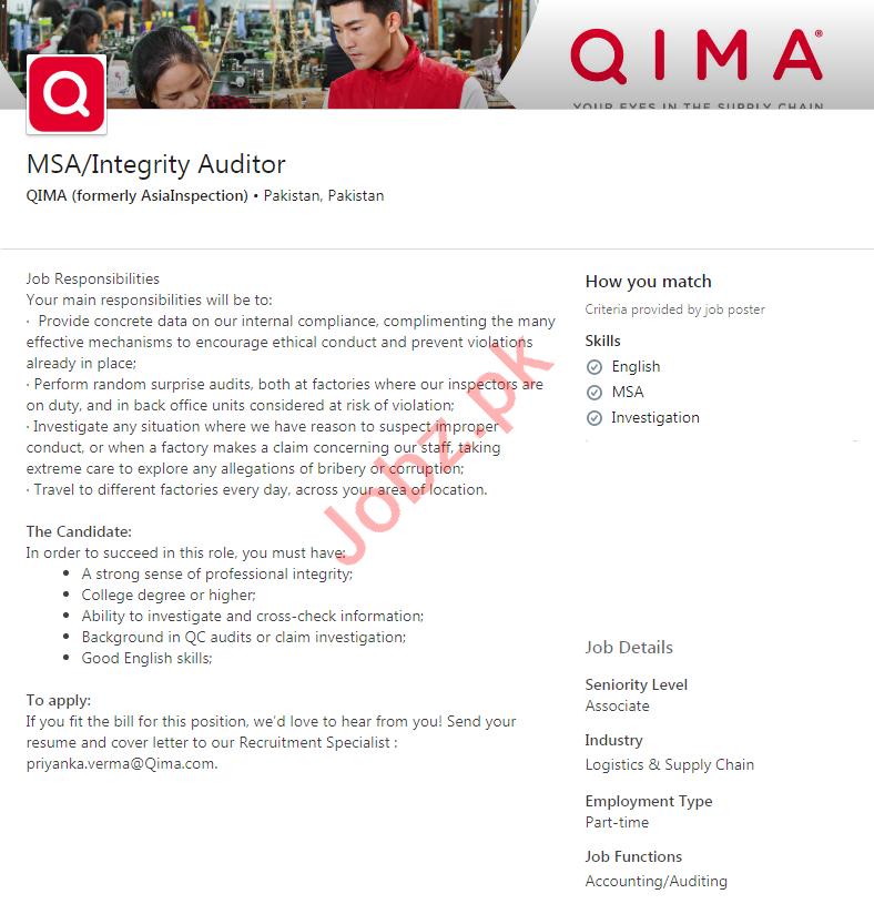 QIMA Pakistan Jobs 2020 for Integrity Auditor