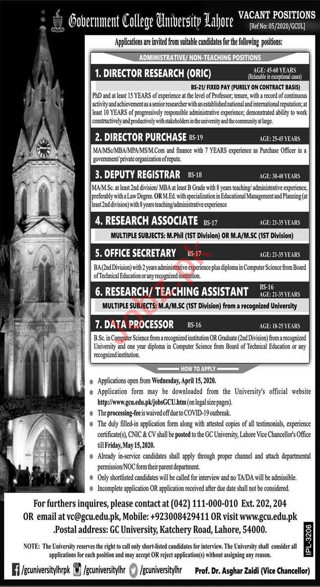 Directors Jobs 2020 in Government College University Lahore
