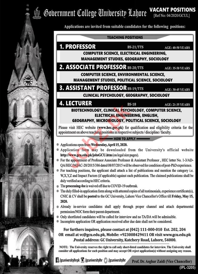 Government College University Lahore Teaching Staff Jobs