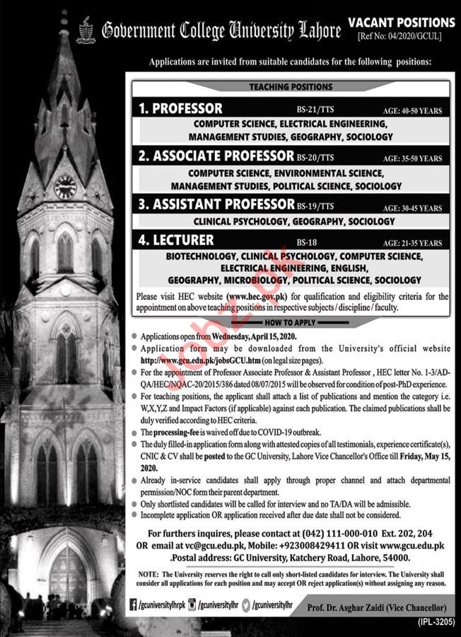 Government College University Lahore GCUL Professors Jobs