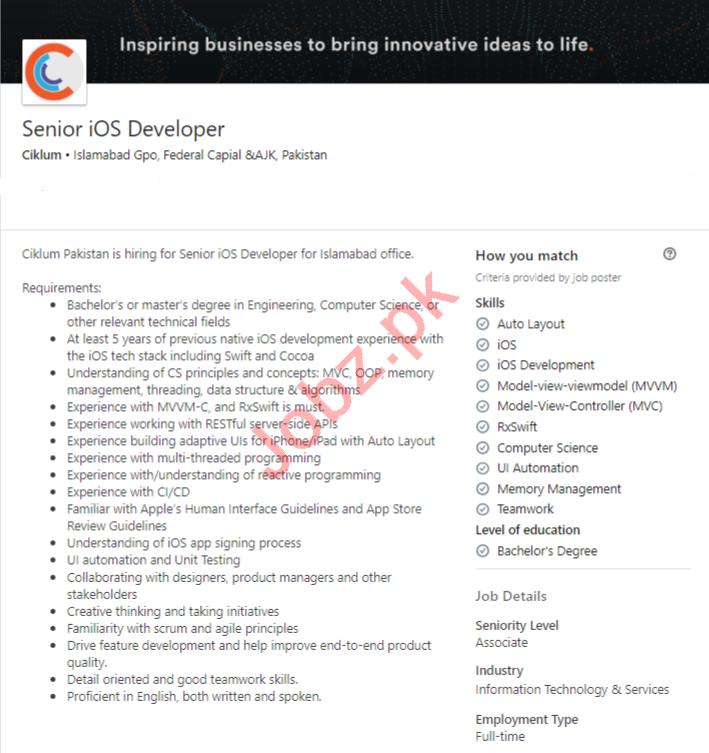 Ciklum Islamabad Jobs 2020 for Senior iOS Developer