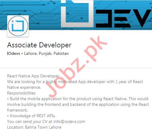 IO Devs Lahore Jobs 2020 for Associate Developer