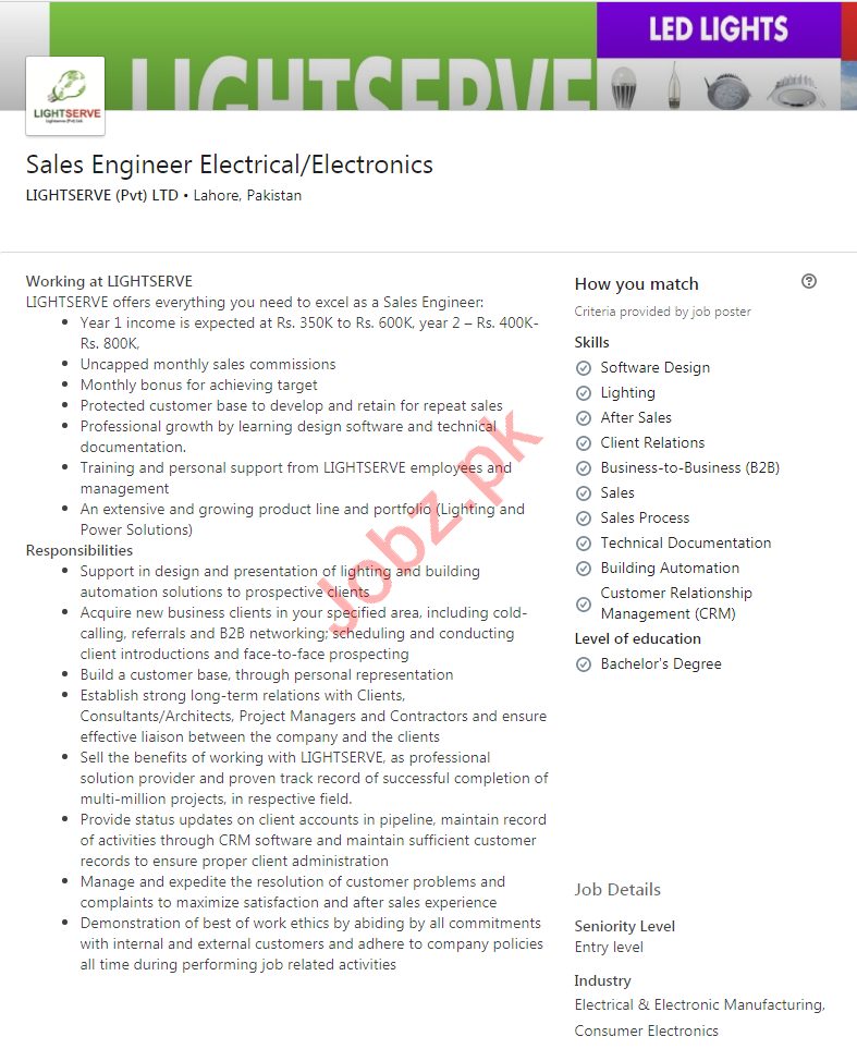 Lightserve Lahore Jobs 2020 for Sales Engineer Electrical