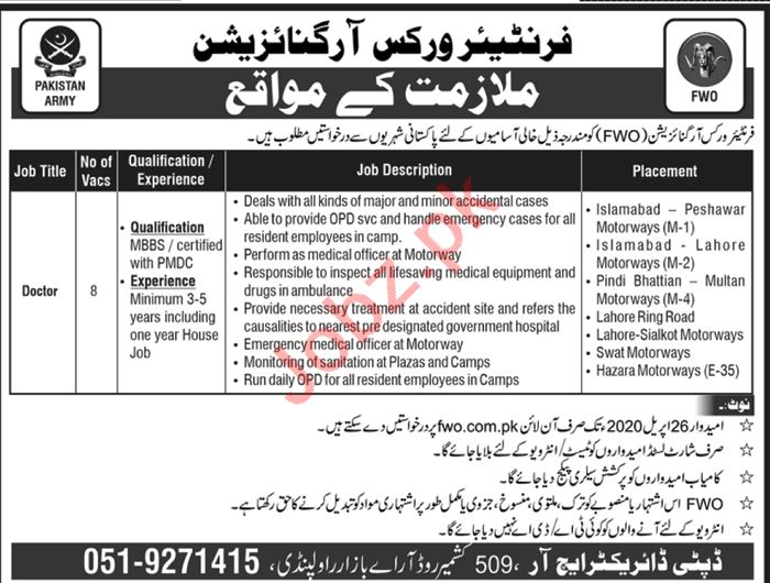 Frontier Works Organization FWO Jobs 2020 for Doctors