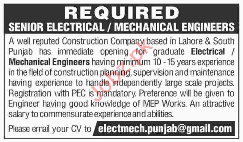 Senior Electrical Engineer & Mechanical Engineer Jobs 2020
