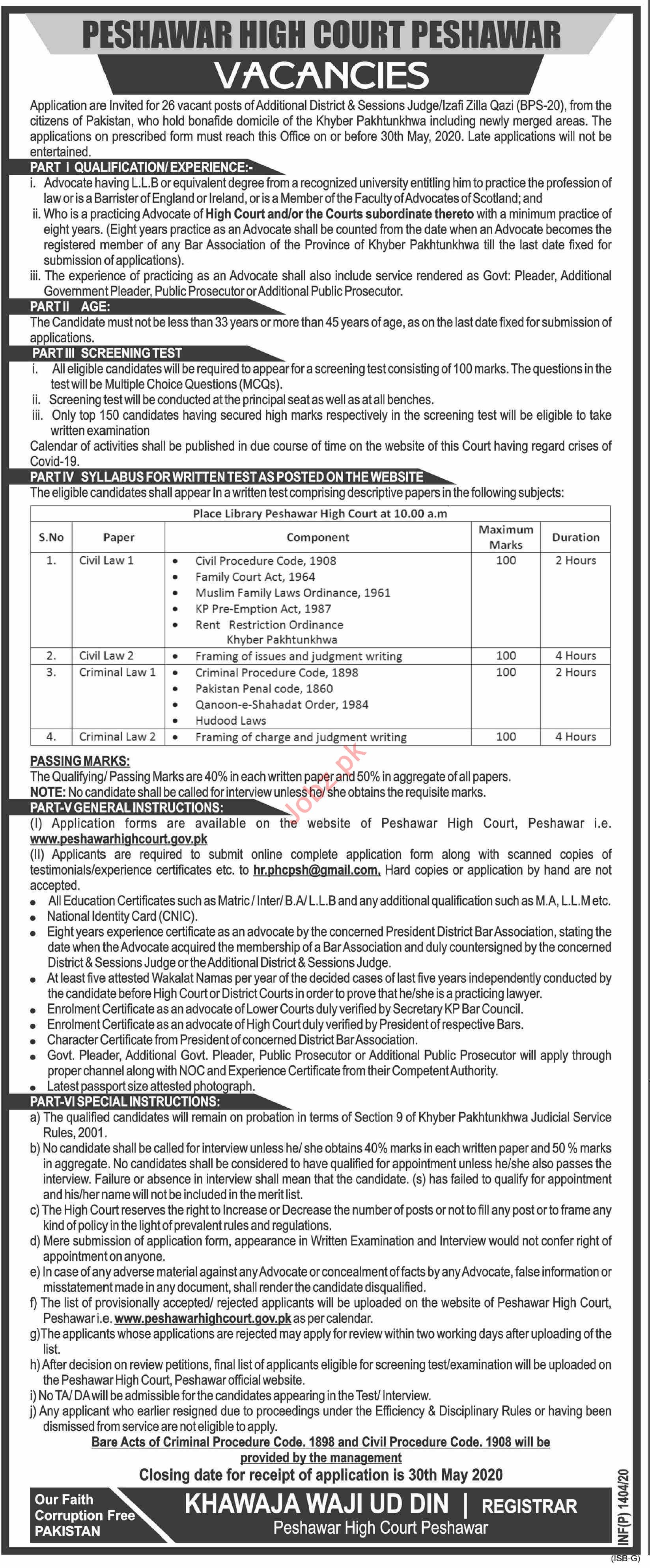 Peshawar High Court Jobs 2020 for District & Sessions Judges
