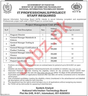Project Management Unit NITB Islamabad Jobs 2020