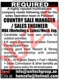 Country Sales Manager & Mechanical Engineer Jobs 2020
