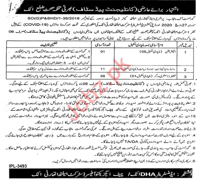 District Health Authority DHA Attock Jobs 2020 for Janitors