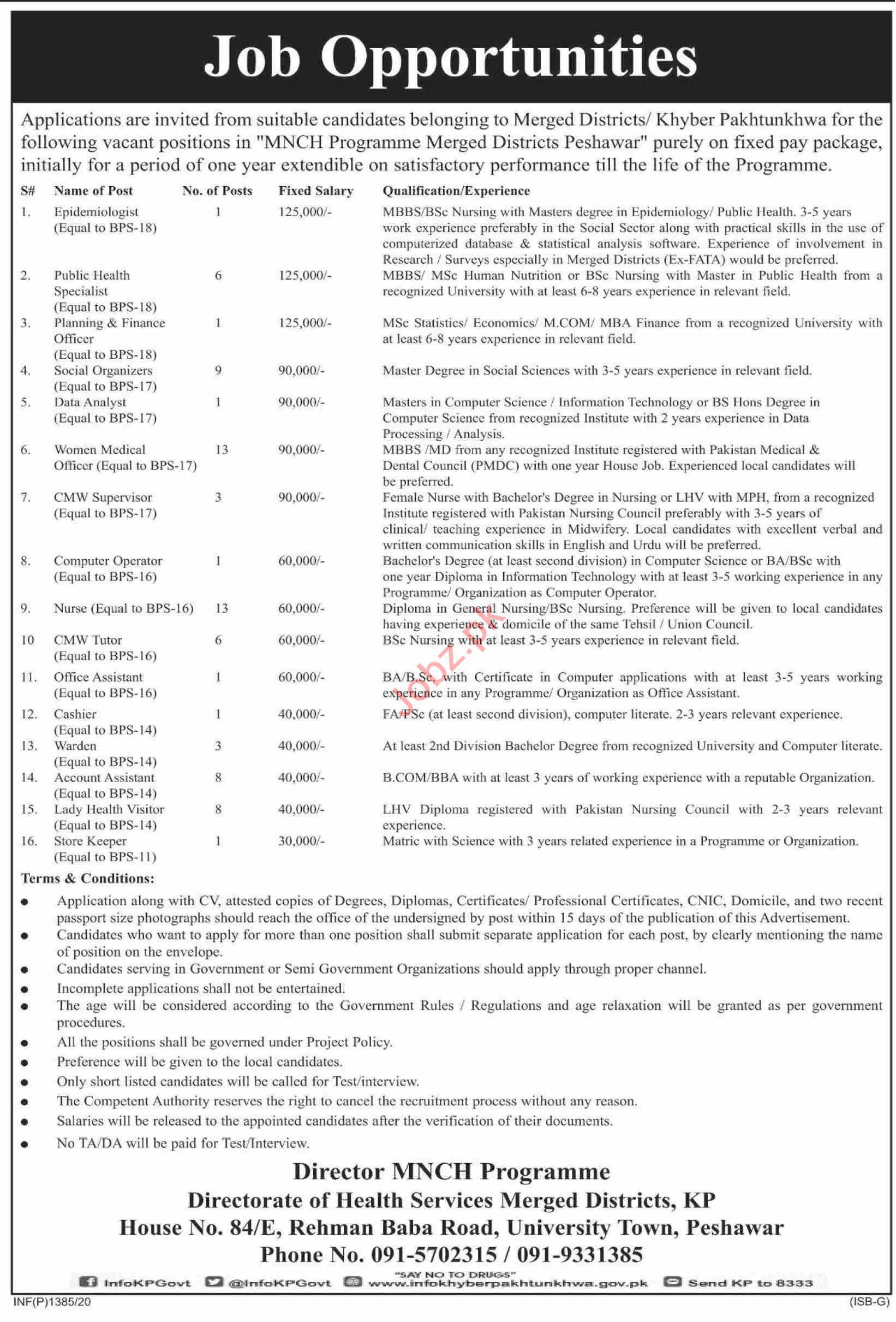 MNCH Programme Merged Districts Peshawar Jobs 2020