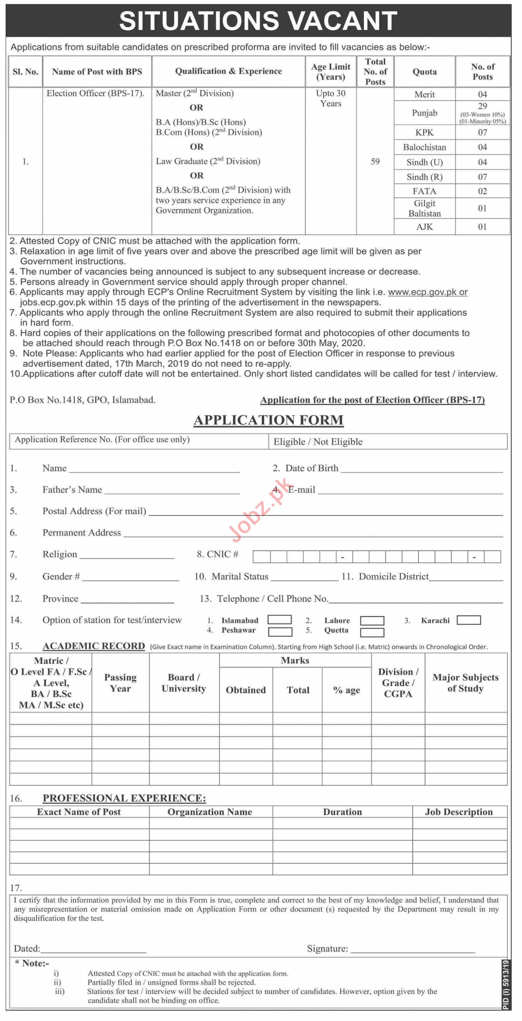 P O Box No 1418 GPO Islamabad Jobs 2020 for Election Officer