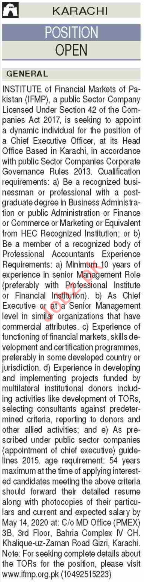 Institute of Financial Markets of Pakistan IFMP Jobs 2020