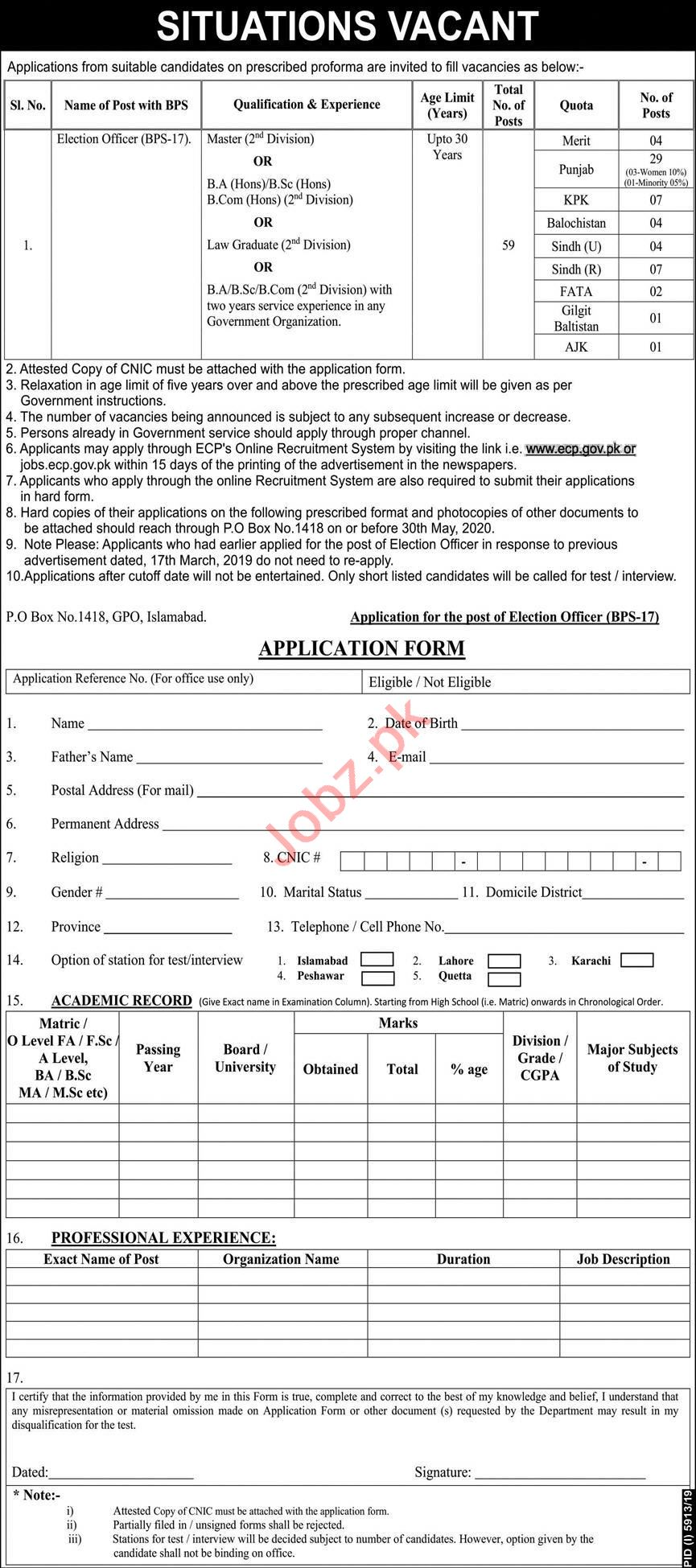 Election Commission of Pakistan ECP Islamabad Jobs 2020