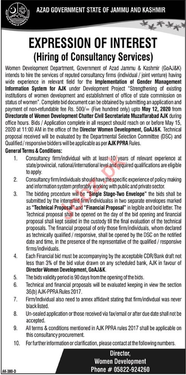 Women Development Department Muzaffarabad Jobs 2020