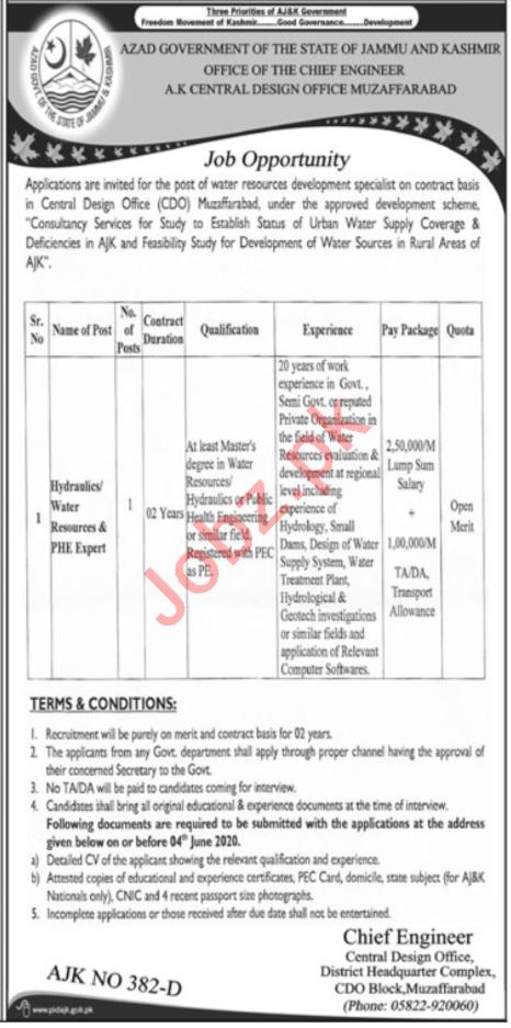 Central Design Office CDO Muzaffarabad Jobs 2020 Hydraulics