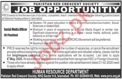 Pakistan Red Crescent Society PRCS Jobs Social Media Officer