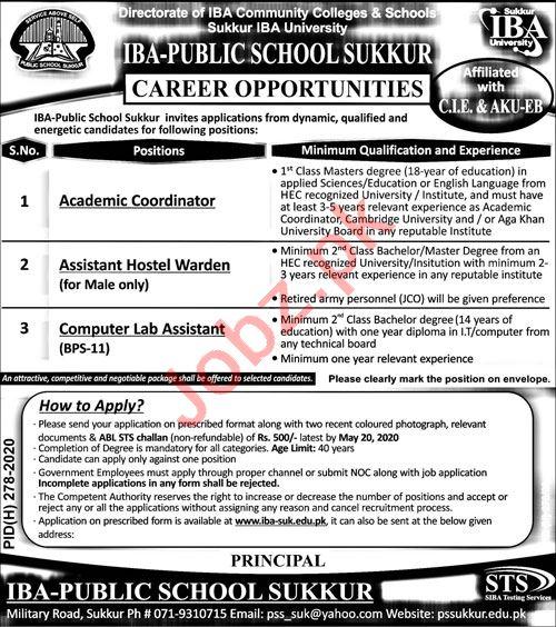 IBA Public School Sukkur Jobs 2020 for Coordinator & Warden
