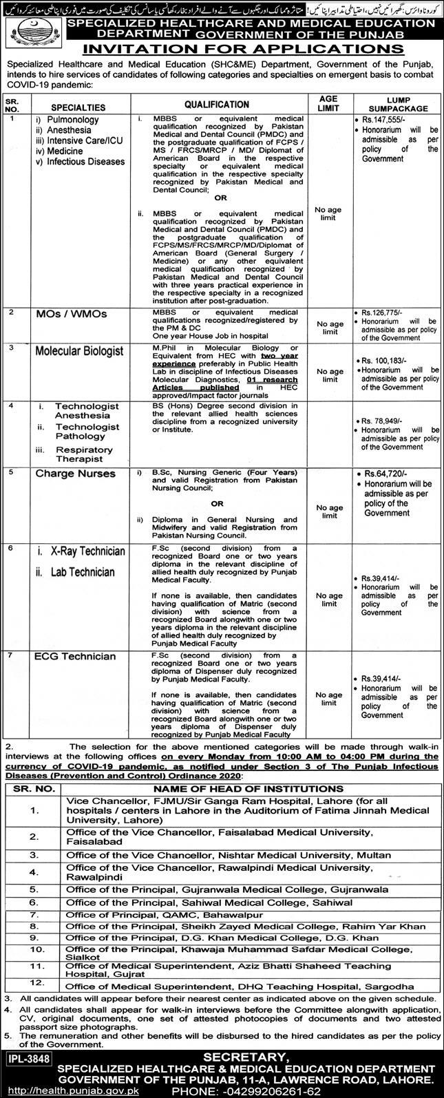 SHC&ME Health Department Jobs 2020 for Medical Specialist