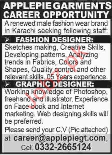 Fashion Designer Graphic Designer Jobs 2020 2020 Job Advertisement Pakistan