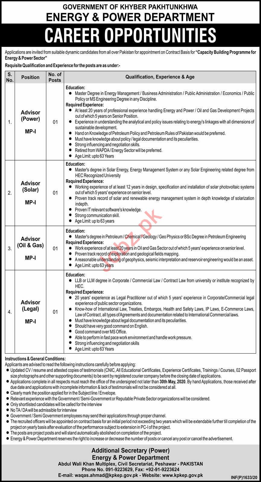 Energy & Power Department KPKEP Peshawar Jobs 2020