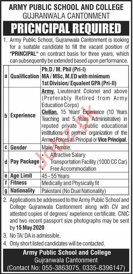 Army Public School & College APS&C Gujranwala Jobs 2020