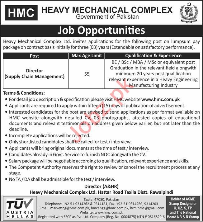 Heavy Mechanical Complex HMC Taxila Jobs 2020 for Directors