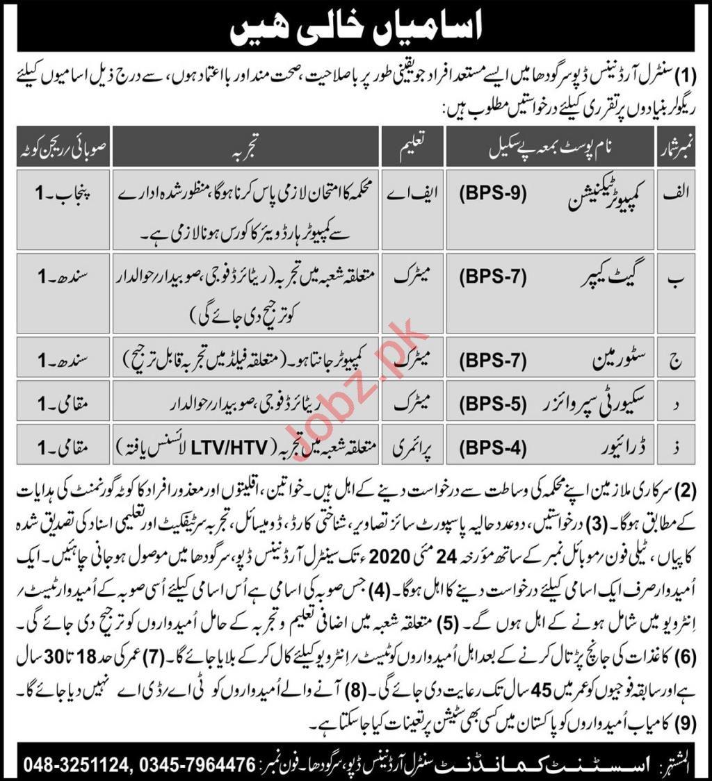 Pakistan Army Central Ordnance Depot Sargodha Jobs 2020