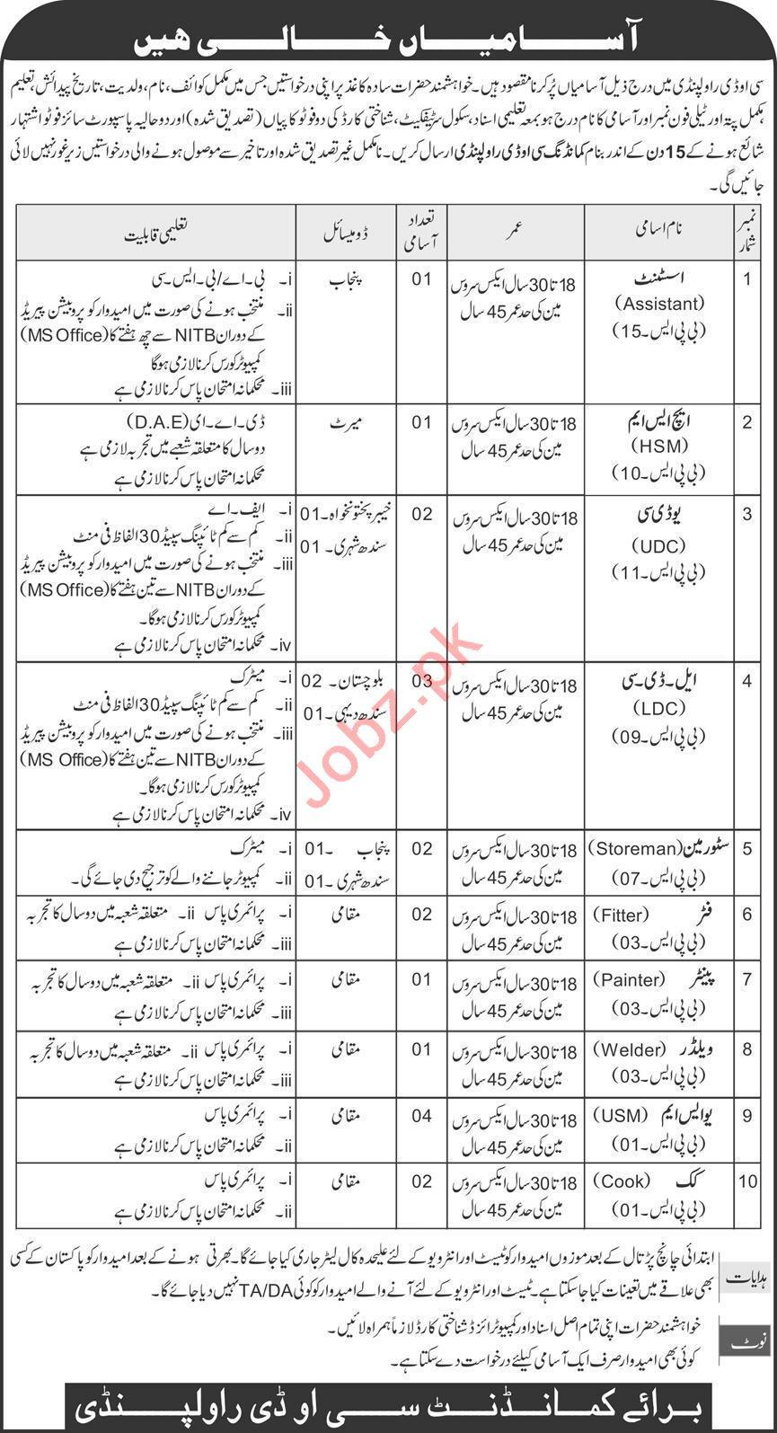 Central Ordnance Depot COD Rawalpindi Jobs 2020