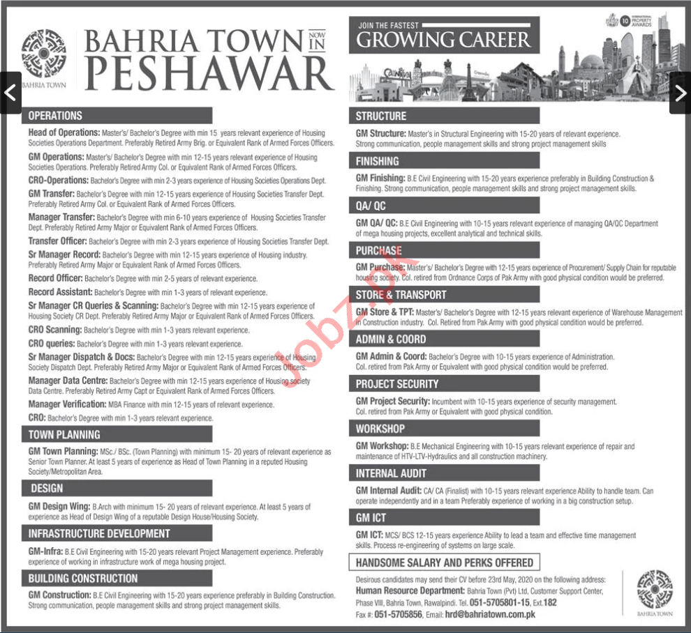 Bahria Town Peshawar Jobs 2020 for General Managers