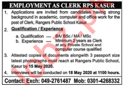 Rangers Public School Kasur Jobs 2020 for Clerk