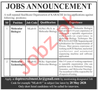 Molecular Biologist & Molecular Technologist Jobs in Karachi