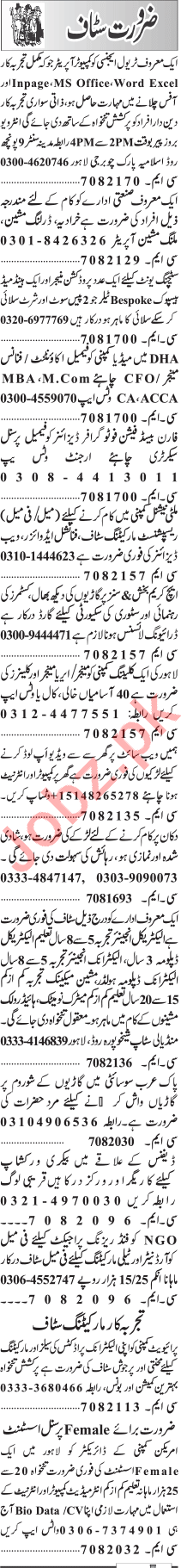 Jang Sunday Classified Ads 10 May 2020 for Multiple Staff