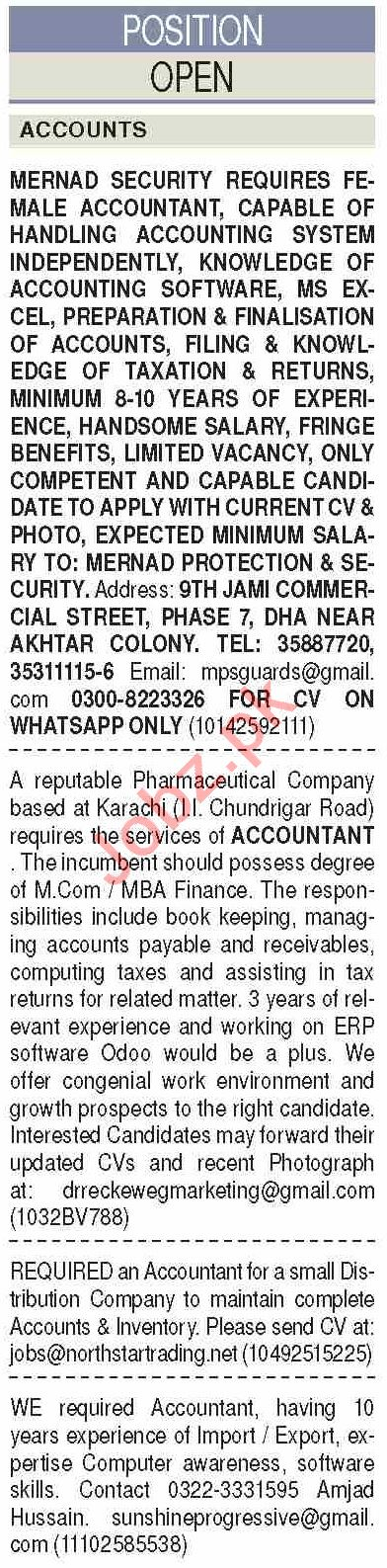 Dawn Sunday Classified Ads 10 May 2020 for Accounts