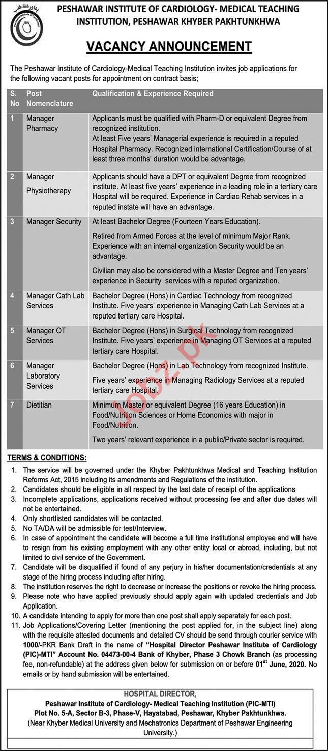 MTI Peshawar Institute of Cardiology PIC Peshawar Jobs 2020