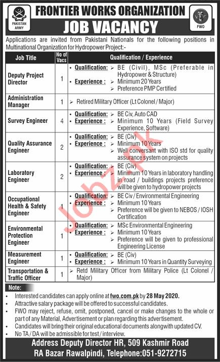 Frontier Works Organization FWO Jobs 2020 for Engineers