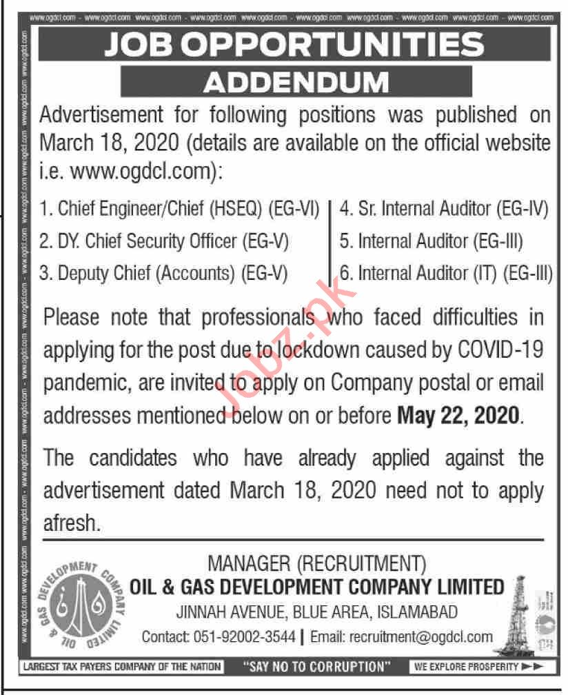 OGDCL Jobs 2020 for Chief Engineer & Chief Security Officer