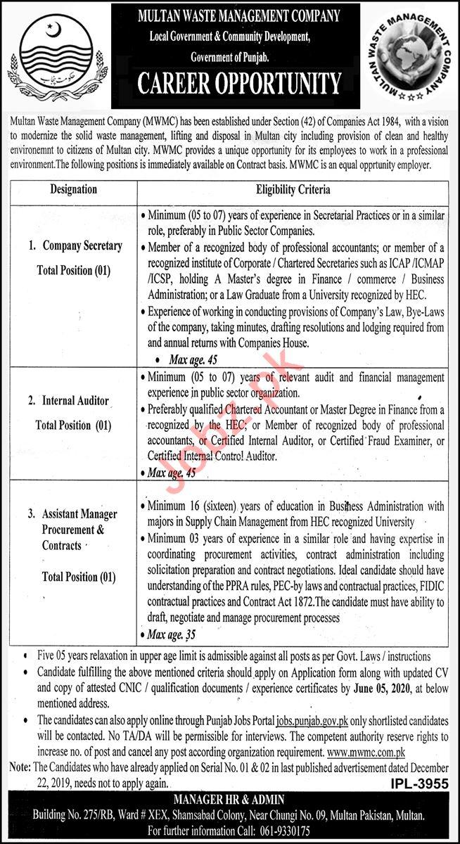 Multan Waste Management Company MWMC Multan Jobs 2020