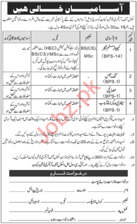 Pak Army School of Artillery Nowshera Cantt Jobs