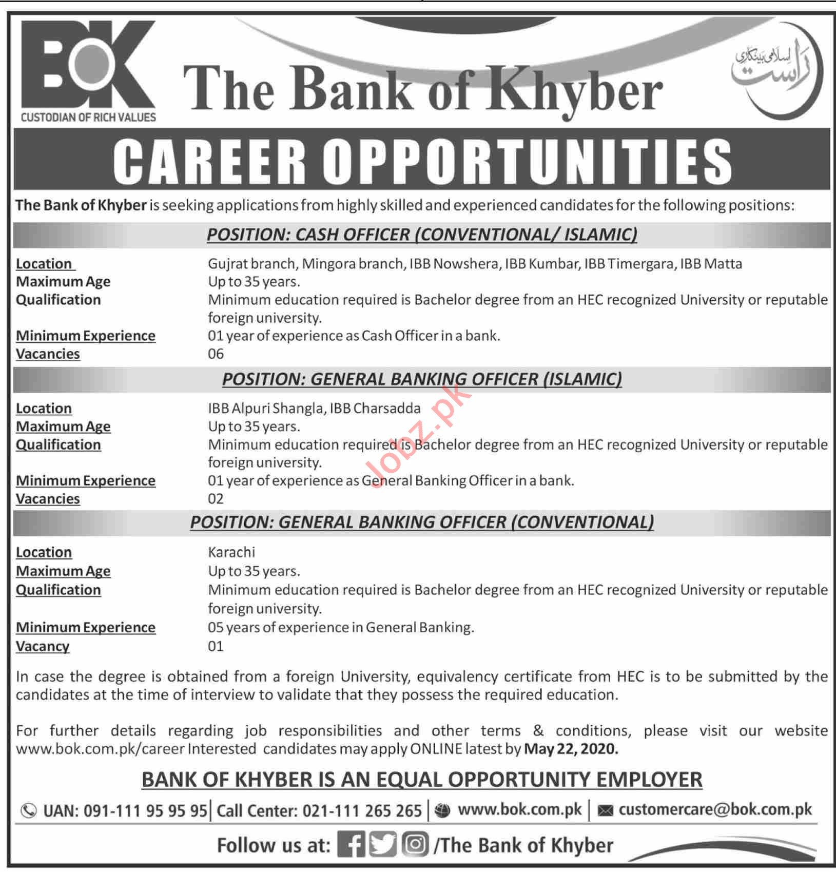 The Bank of Khyber BOK Jobs 2020 for Cash Officer