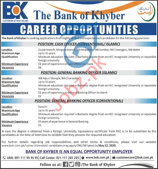 The Bank of Khyber BOK Jobs 2020 for General Banking Officer