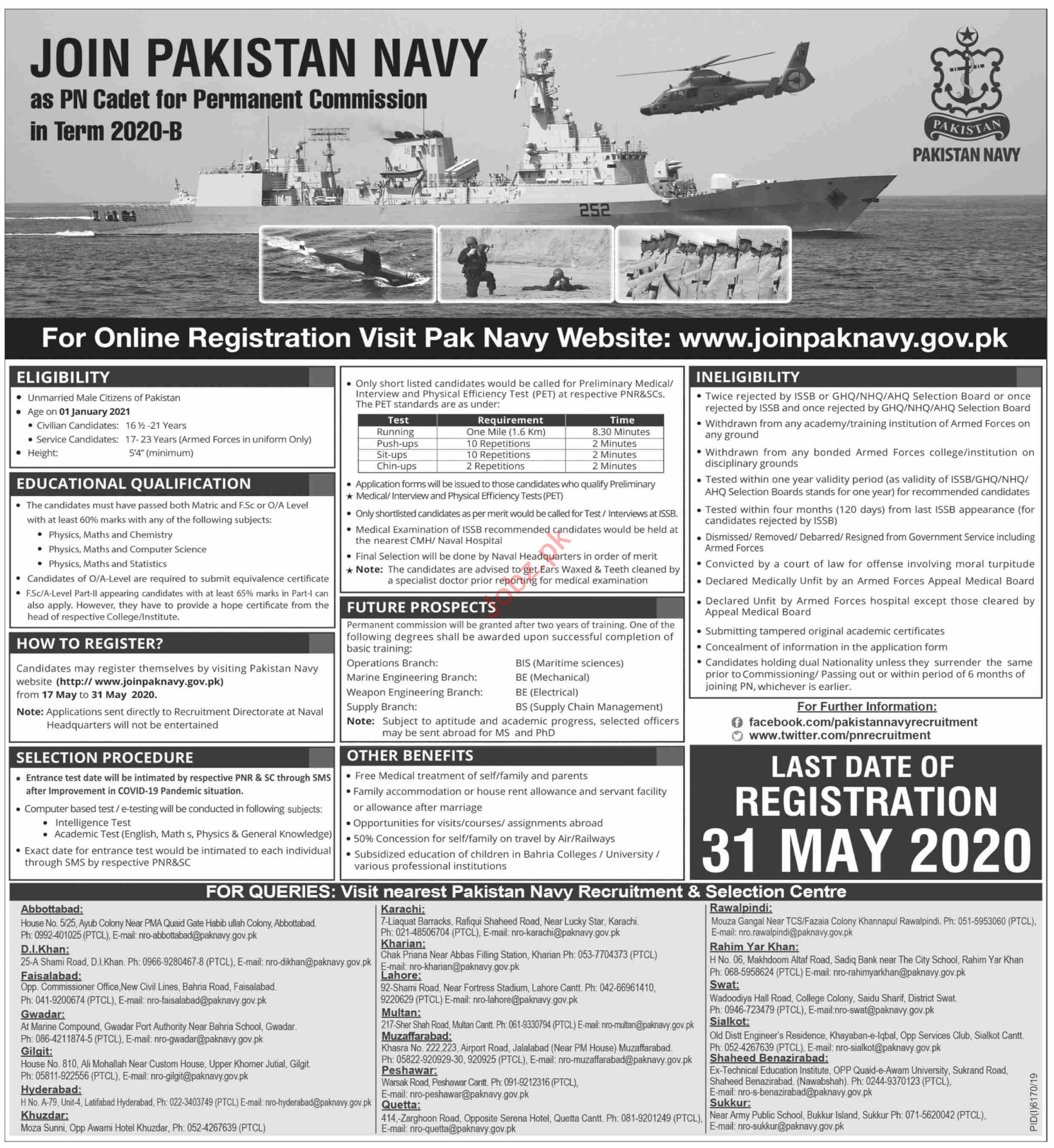 Join Pakistan Navy as PN Cadet for Commission in Term 2020-B