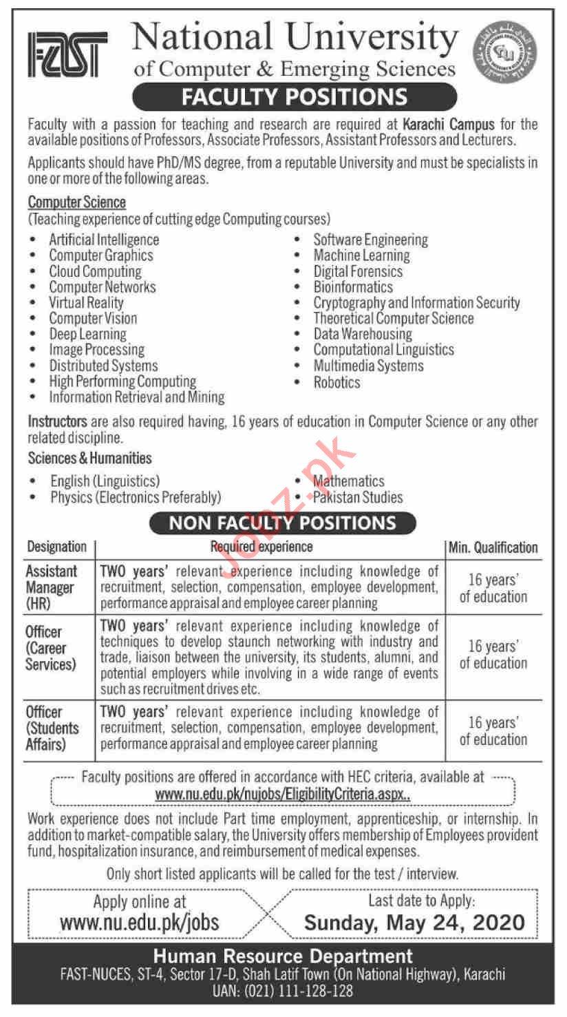 FAST National University of Computer & Emerging Sciences Job