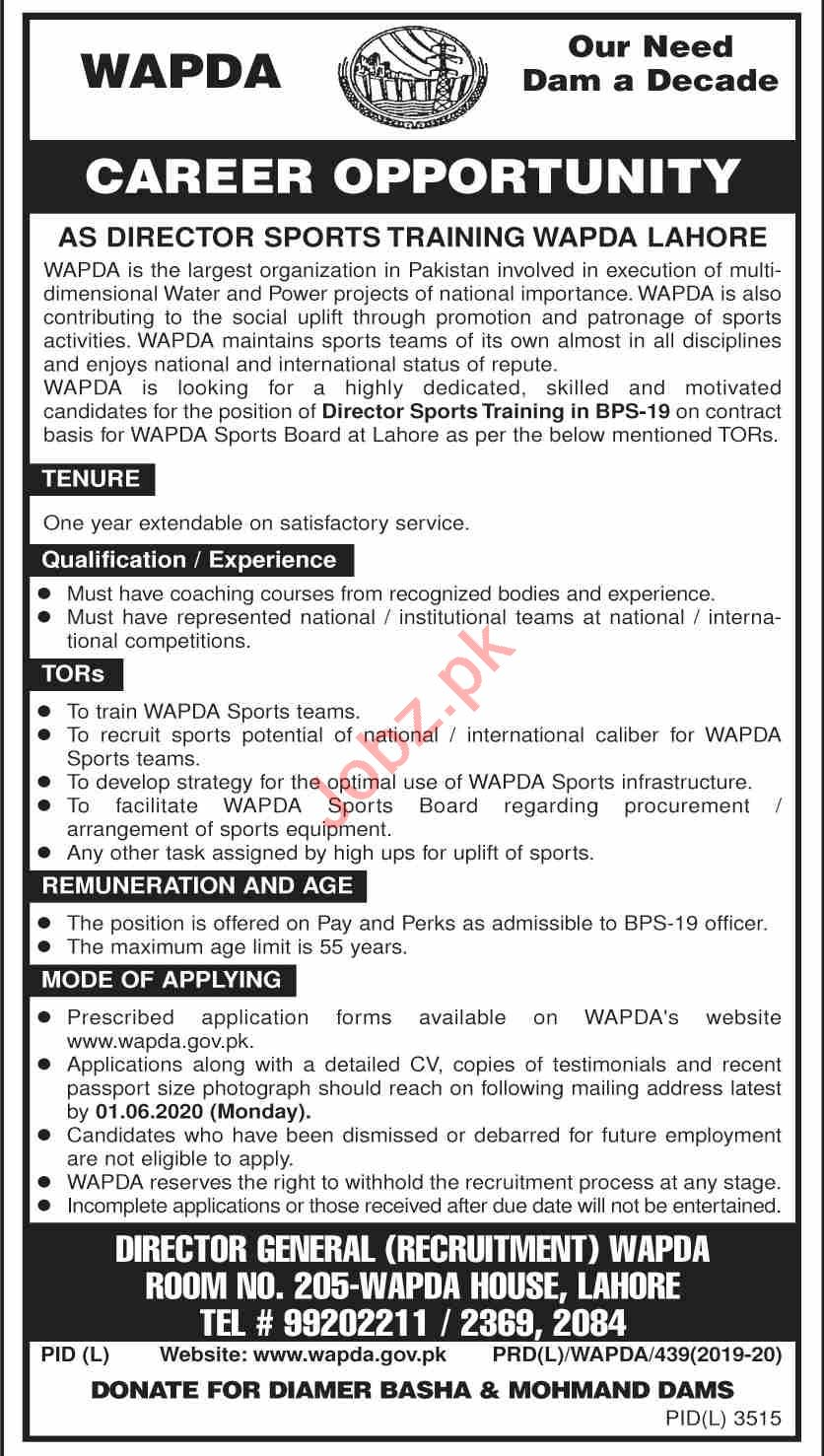 WAPDA Sports Complex Lahore Jobs 2020 for Director Sports