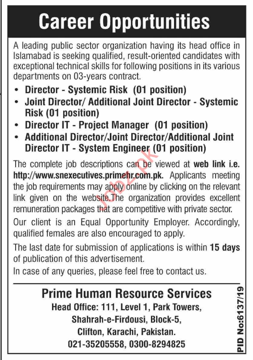 Public Sector Organization Islamabad Jobs 2020 for Director