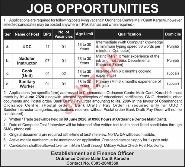 Ordnance Centre Malir Cantt Karachi Jobs 2020 for UDC