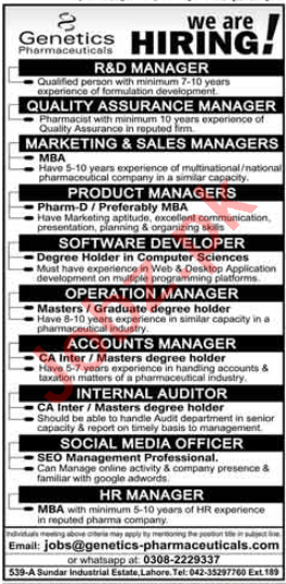 Genetics Pharmaceuticals Lahore Jobs 2020 for R&D Manager