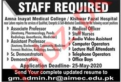 Amna Inayat Medical College Jobs 2020 for Professors