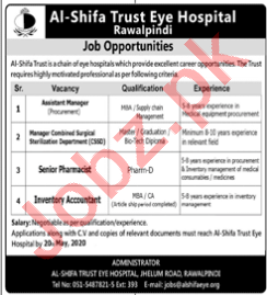 Al Shifa Trust Eye Hospital Jobs for Accountant & Pharmacist
