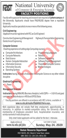 FAST National University Lahore Campus Jobs 2020